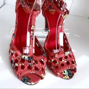 Red Polka Dot Floral T Strap Heel/Sandal